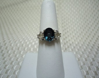 London Blue and White Topaz Ring in Sterling Silver