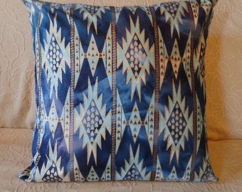 Blue and Gold Pillow Cover - Decorative - Batik Fabric