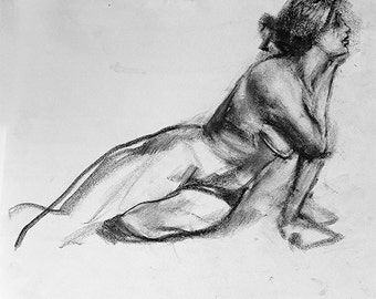 "Drawing woman, fine art digital print from original charcoal drawing by artist, Vernon Grant, large size print 18"" x 24"", Charcoal Nude"