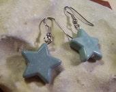 Star Earrings Blue Grey Marble