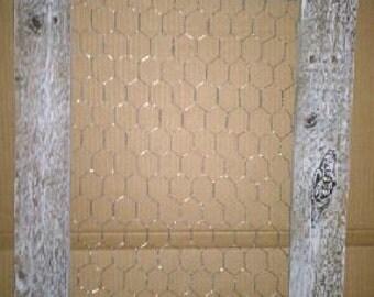 Distresd wood frame chicken wire  board