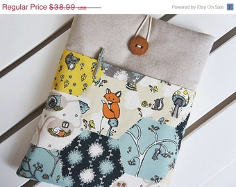 15 % ON SALE Ready to ship Premuim Organic Cotton -13 inch Laptop Cover - Macbook Air-Pro, Custom Size13'' Laptop - Button will be different