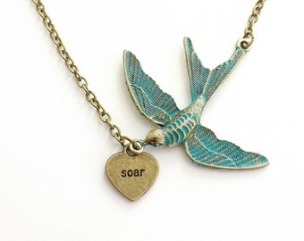 Soar Inspirational Necklace, Verdigris Blue Bird Heart Necklace, Blue Bird, Best Friend, Friendship, Gift for Her, Graduation Gift