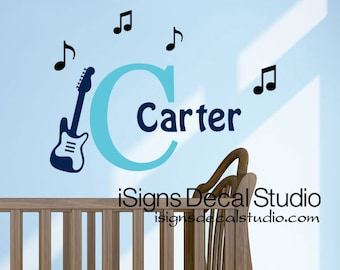 Music Wall Decal - Initial Name Wall Decal - Inital Music Guitar Nursery -  Guitar Nursery Decal - Music Wall Decal