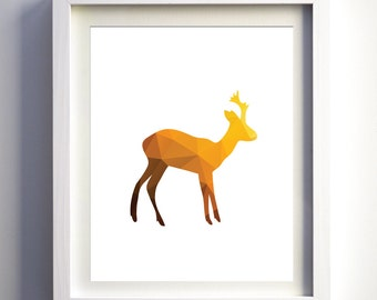 Baby Deer Print, Polygonal Animal, Animal Nursery Wall Art, Geometric Minimalist Art Modern nursery wall decor children room art forest