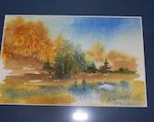Original watercolor in frame featuring beautiful fall colors