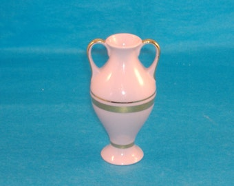Small Pink Porcelain Vintage H&C Bud Vase, Hand Painted 24K Gold Trimmed, Made in Czechoslovakia