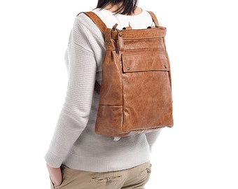Convertible leather backpack - laptop backpack - distressed backpack - leather backpack -ARTE bag