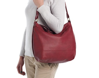 Red leather hobo bag - Soft leather bag - Leather purse - Women handbags - LARGE HELEN