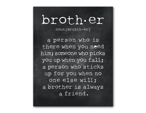 Boys Room Wall Art - A brother is a person Quote - Inspirational Typography Print - gifts for brother - Wall decor - gifts for boy