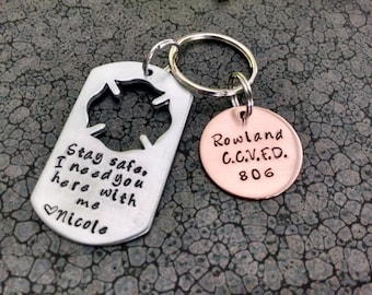 Firefighter Gift Stay Safe, I Need You Here With Me Personalized Hand Stamped Keychain Maltese Cross Firefighters Wife