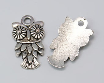 Antiqued Silver Owl Charms Pendants 50pcs-Bulk Charms-Charms For Bracelets-Wholesale Charms