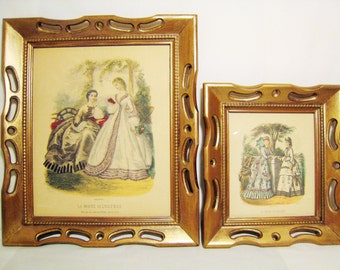 Pair of French Fashion Plates La Mode Illustree / Victorian Women Illustrations Framed 50s/60s Victorian Revival Paris Apartment Shabby Chic