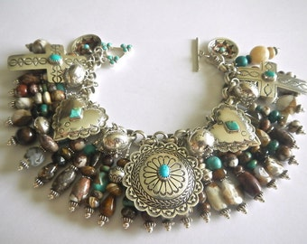 Southwest Sterling Silver Arizona Wild Horse Magnesite & Turquoise Charm Bracelet MUST SEE