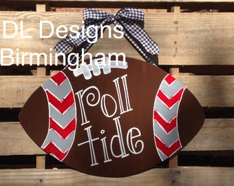 SALE Chevron Alabama football Roll Tide Door hanger with houndstooth ribbon