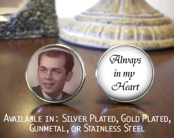 SALE! Memorial Cuff Links - With Photo - Always in My Heart - Groom Gift
