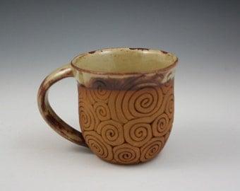 Coil-Built Pottery Mug, Yellow Glaze