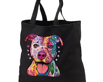 Neon Pit Bull Dog New Black Tote Bag Gifts Events DESIGN BOTH SIDES