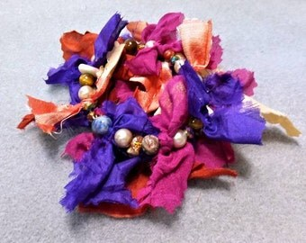 Beaded Bracelet with Recycled Sari Silk - Mixed Media - Memory Wire - So Sari II