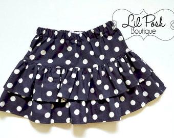 Girls Navy and White Polka Dot Ruffled Skirt