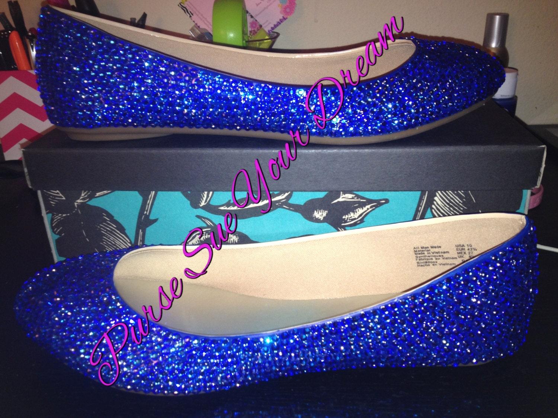 Swarovski Crystal Royal Blue Bridal Ballet Flat Shoes