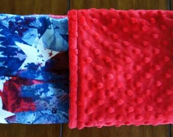 Minky Baby Blanket - Star Gazer - Red White & Blue Double-Sided Minky Blanket