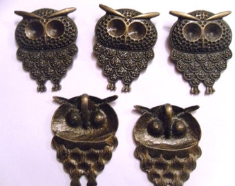 1, 2 or 5 Large Bronze Owl Pendants 48x35mm    -A4B3-3
