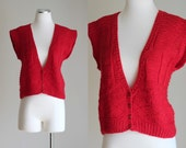 SALE: Vintage 80s Red Cropped Wool Sweater Vest - Oversize Boxy Hand Knit Sleeveless Sweater - Jones New York Summer Sweater - Size Medium