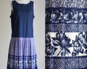 SALE: Vintage 90s Navy Blue Drop Waist Dress - Flapper Style Dress - 1920s Style Dress - Pleated Floral Tank Dress -Size Medium / Large