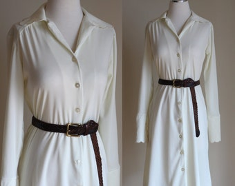 SALE: Vintage 70s Pastel Yellow Dress - Button Front Long Sleeve Light Yellow Shirt Dress - Short Scalloped Mini Dress - Size Small / Medium