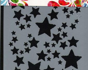 Stars - Stencil - Mask - Dutch Doobadoo - A5 - Mixed Media - Altered Art - Laser Cut Plastic - Mixed Media