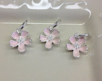925 Sterling Silver Plated pink cherry blossom charm or can be used as a small pendant.
