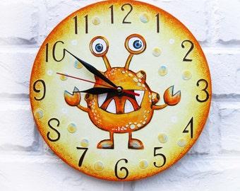 Orange Alien Wall Clock Home Decor for Children Kid Boy Nursery wall clock  Playroom