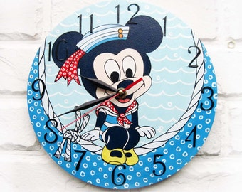 The Mickey Mouse Wall Clock Home Decor for Children Kid Boy Nursery Playroom, wood clock, white home decor, kids gift.