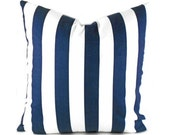Pillow Covers ANY SIZE Decorative Pillow Cover Blue and White Pillow Premier Prints Stripe Canopy Navy Blue
