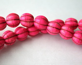 10 mm Pink Turquoise, Magnesite, Gemstone Melon Beads