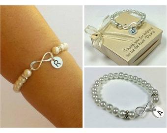 Sterling silver Infinity personalized bracelet. Pearl bridesmaids bracelet. Friendship bracelet