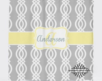 Trellis Shower Curtain - Yellow and Gray Shower Curtain - Lattice Shower Curtain, Custom Monogrammed Curtain