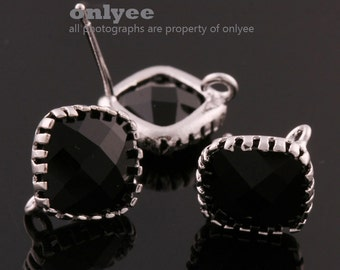 2pcs/1 pair-9mmX9mmRhodium plated faceted Square glass post earrings-Black(M354S-A)