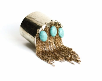 PHARAOH fringed cuff - Hammered brass and turquoise