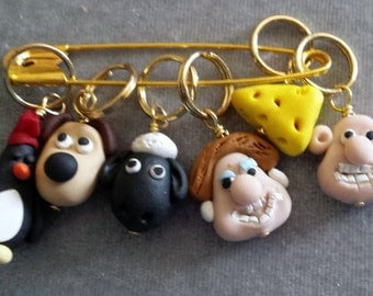 Stitch Markers Wallace and Gromit  Inspired  for Knit or Crochet set of 6 Sheep Cheese