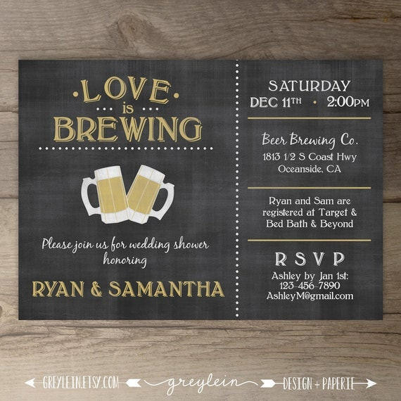 Wedding Engagement Party Invitations: Love Is Brewing Wedding Shower Engagement Party By Greylein