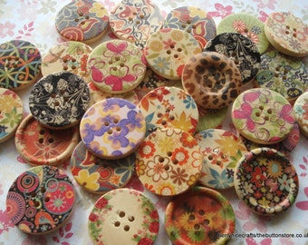 30mm Wood Button Mixed Patterns Pack of 10 Large Wood Buttons W30mix10