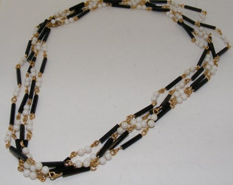 Vintage White and Black Bead Necklace with Gold Tone Wire Wrapping