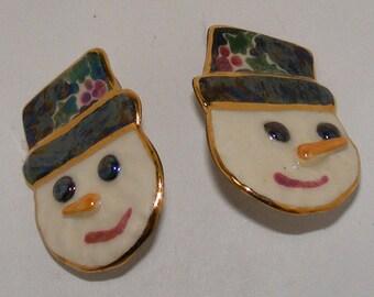 Vintage Porcelain/Ceramic Snowmen Clip Earrings