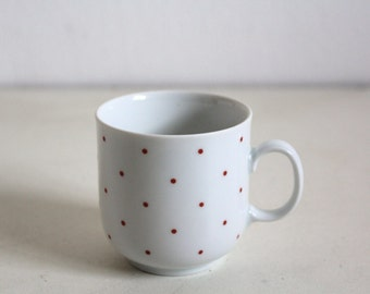SALE 50 OFF Vintage Bavaria Tea Cup Red Polka Dots German Pottery Shabby Decor Mitterteich