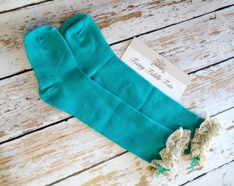 Turquiouse Blue Toddler Boot Socks, Toddler Socks, Turquiouse Boot Socks with ruffles, Toddler Boot Socks, Child Boot Socks