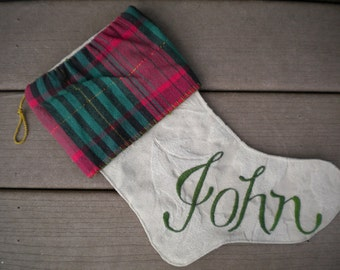 Handmade Christmas Stocking Embroidery Red and Green Plaid John Shabby Chic Holiday Home Decor, Beth Baker Artist