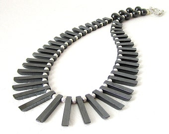 Black Haematite Necklace, Black Gemstone Jewellery, Tribal Style Fringe Necklace Hematite Bib Jewellery Chunky Necklace Semi Precious Stone