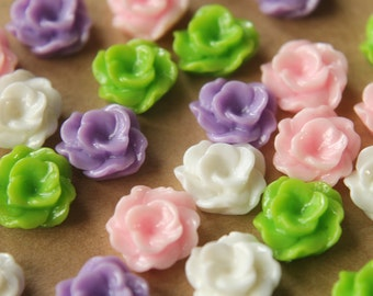 CLOSEOUT - 24 pc. Glossy Rippled Flower Cabochons 12mm   RES-459